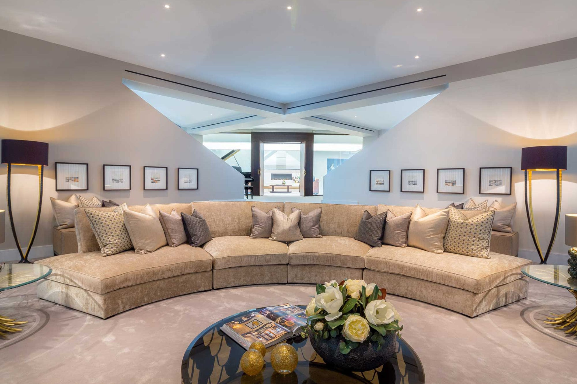 The beautiful curved sofa in the lounge at Harford Manor