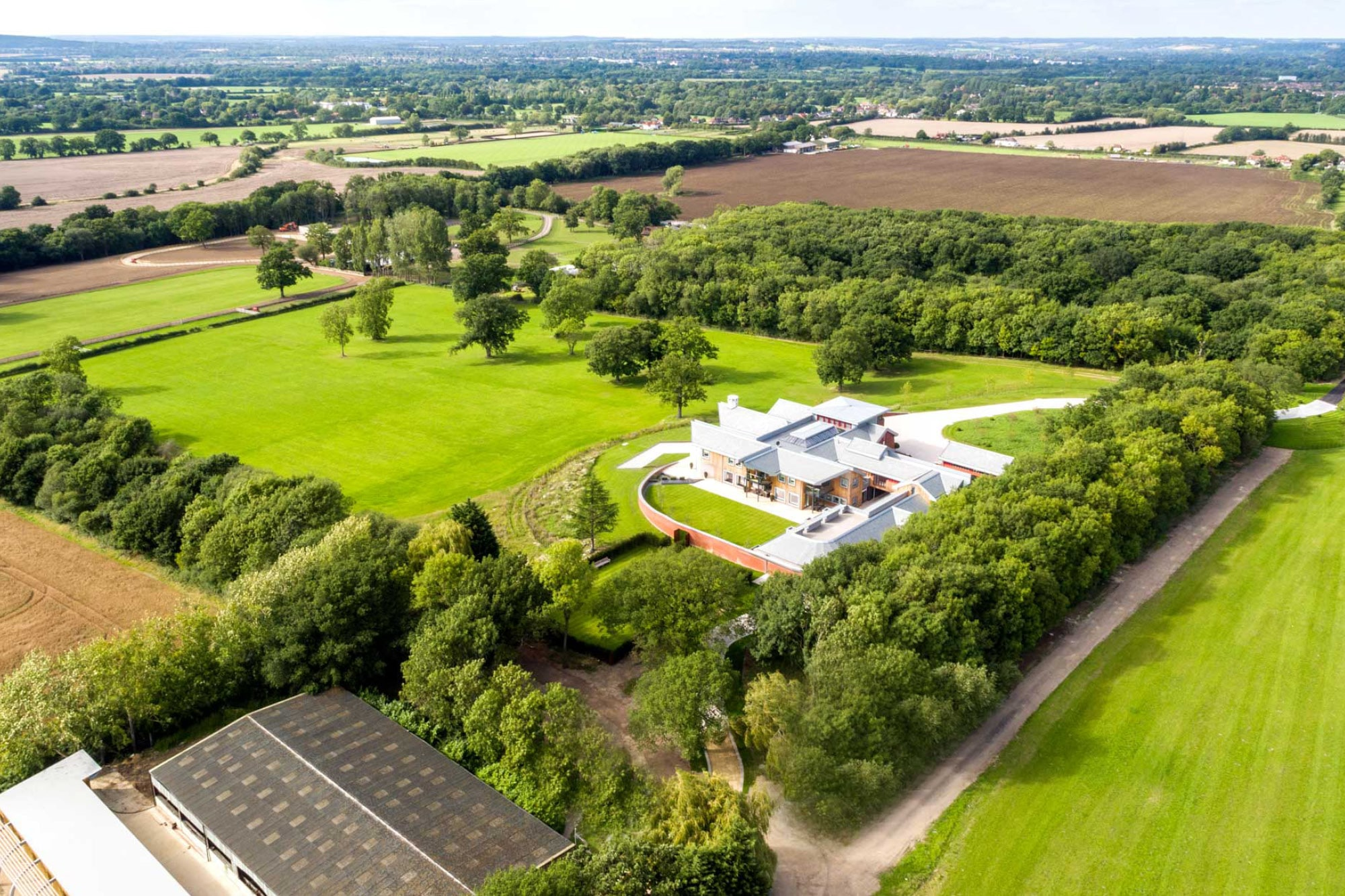A birdseye view of Harford Manor Estate in Holyport Berkshire